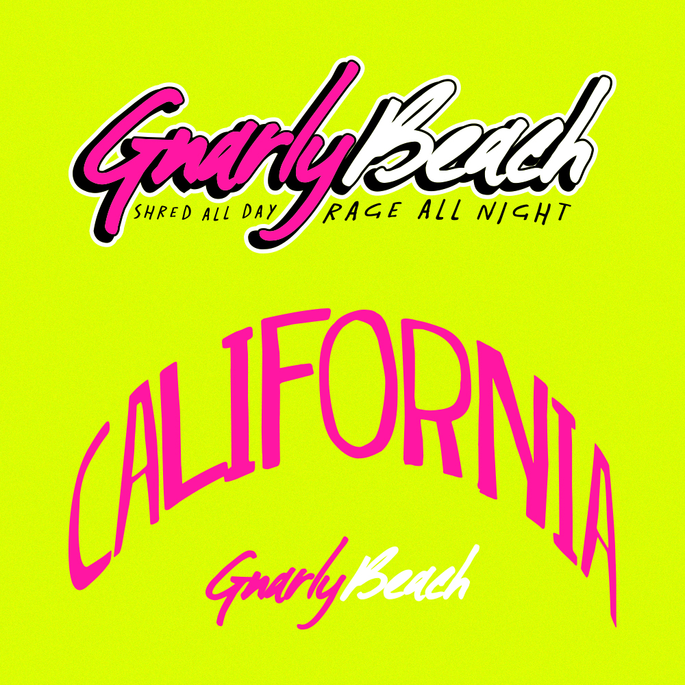gnarly beach, lifestyle brands, fanny pack, neon, beach wear, festival clothing, party pack, beach wear, california clothing, brand mark, gnarly beach logo, california hat,