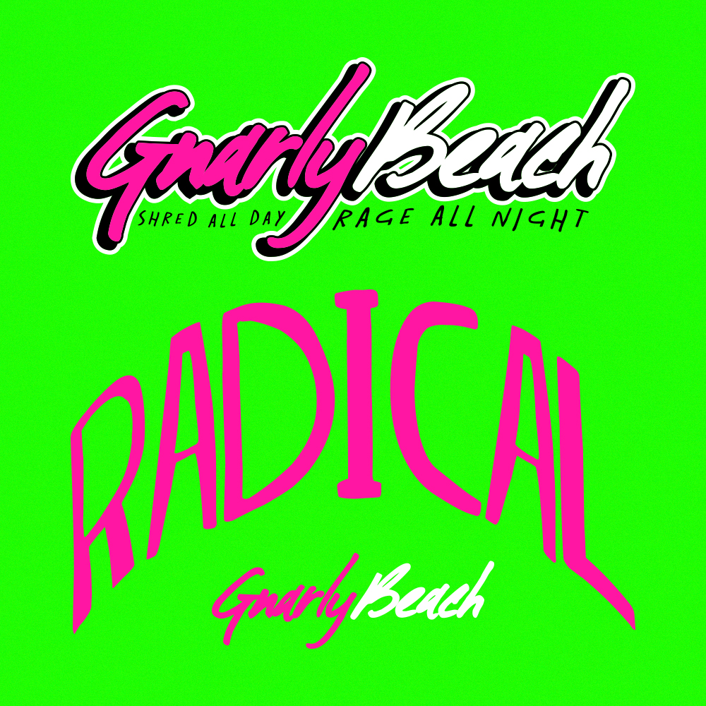 gnarly beach, lifestyle brands, fanny pack, neon, beach wear, festival clothing, party pack, beach wear, california clothing, brand mark, gnarly beach logo, radical hat,